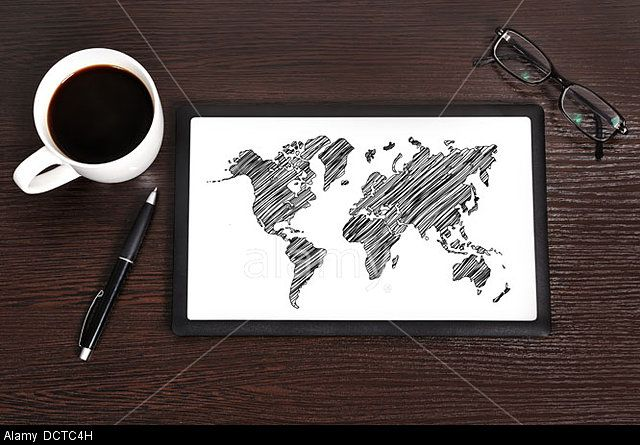 Map on touchpad. © YAY Media AS / Alamy