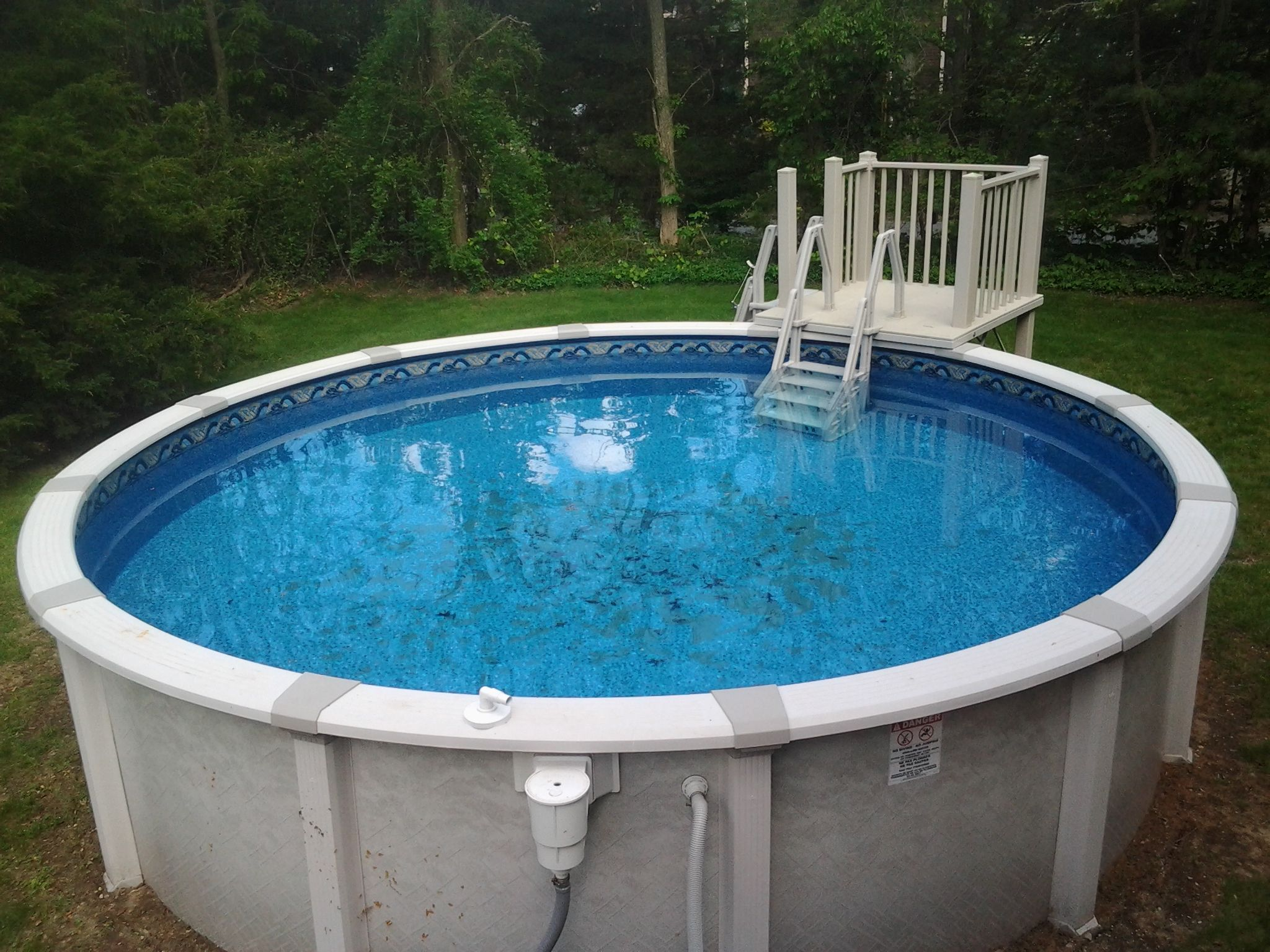 18 39 round harmony with 5x5 resin deck installed in mansfield ma 2014 our above ground pool for Resin above ground swimming pools