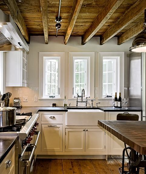 White Painted Wood Floor With Modern Cabinetry: Wood Ceiling And Floors, Off-white Painted Cabinets, Dark