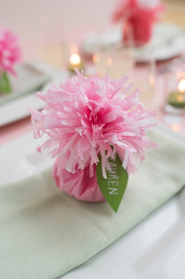Tissue paper carnation place cards favors diy oh happy day heres a happy explosion of pink in the form of a tissue paper flower inspired mightylinksfo
