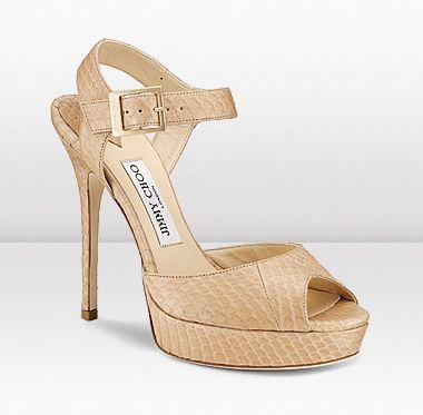 a0b547b10bde Jimmy Choo Linda Nude Matt Elaphe Snake Skin Platform Sandals with Heel  Shoes
