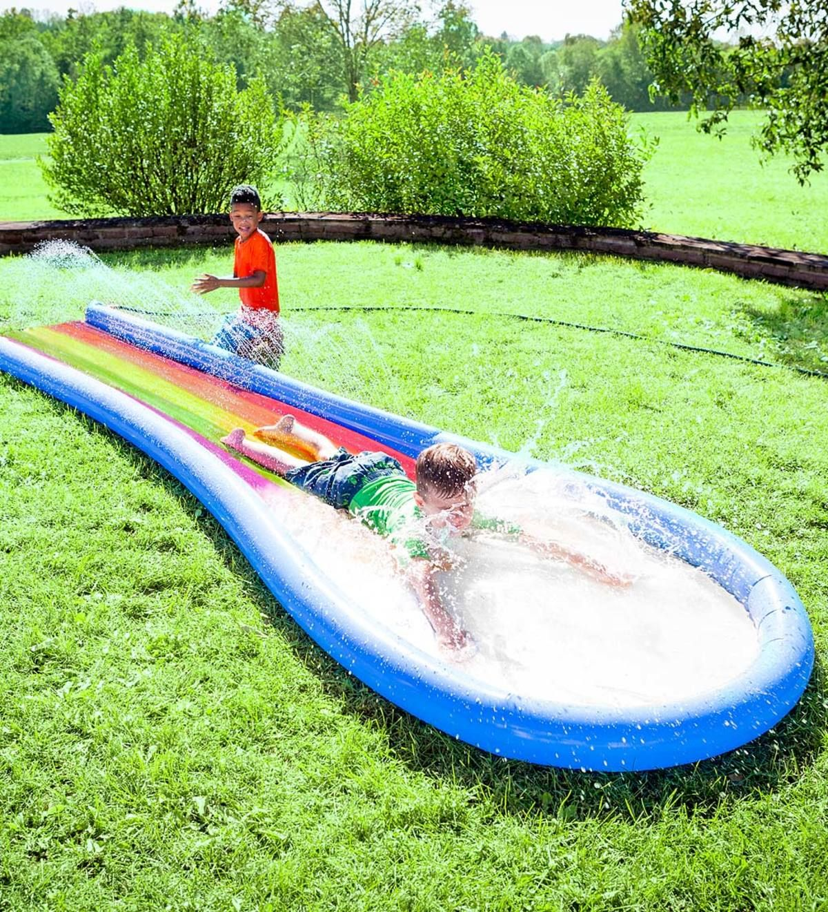 Backyard summertime fun at its best! Inflate this rainbow ...