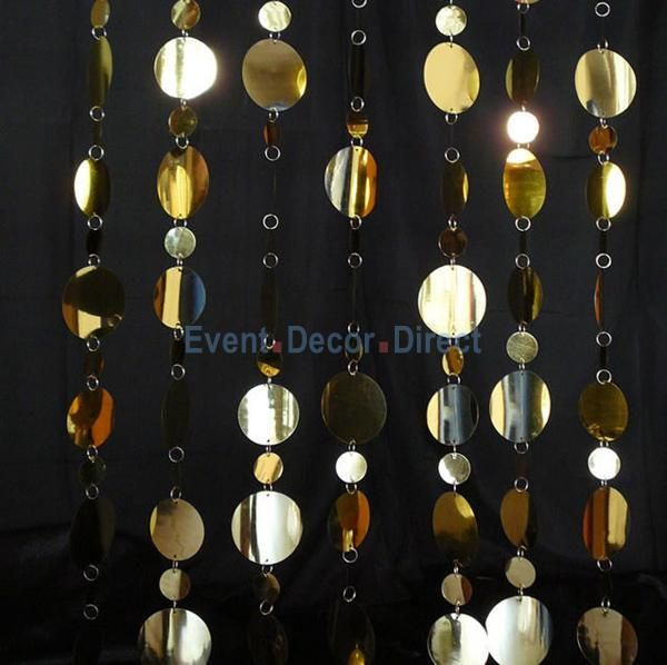 Decostar 8ft Tall Gold Pvc Multi Circle Curtain Party Planning Mirrors Film Beaded Curtains Stage Curtains
