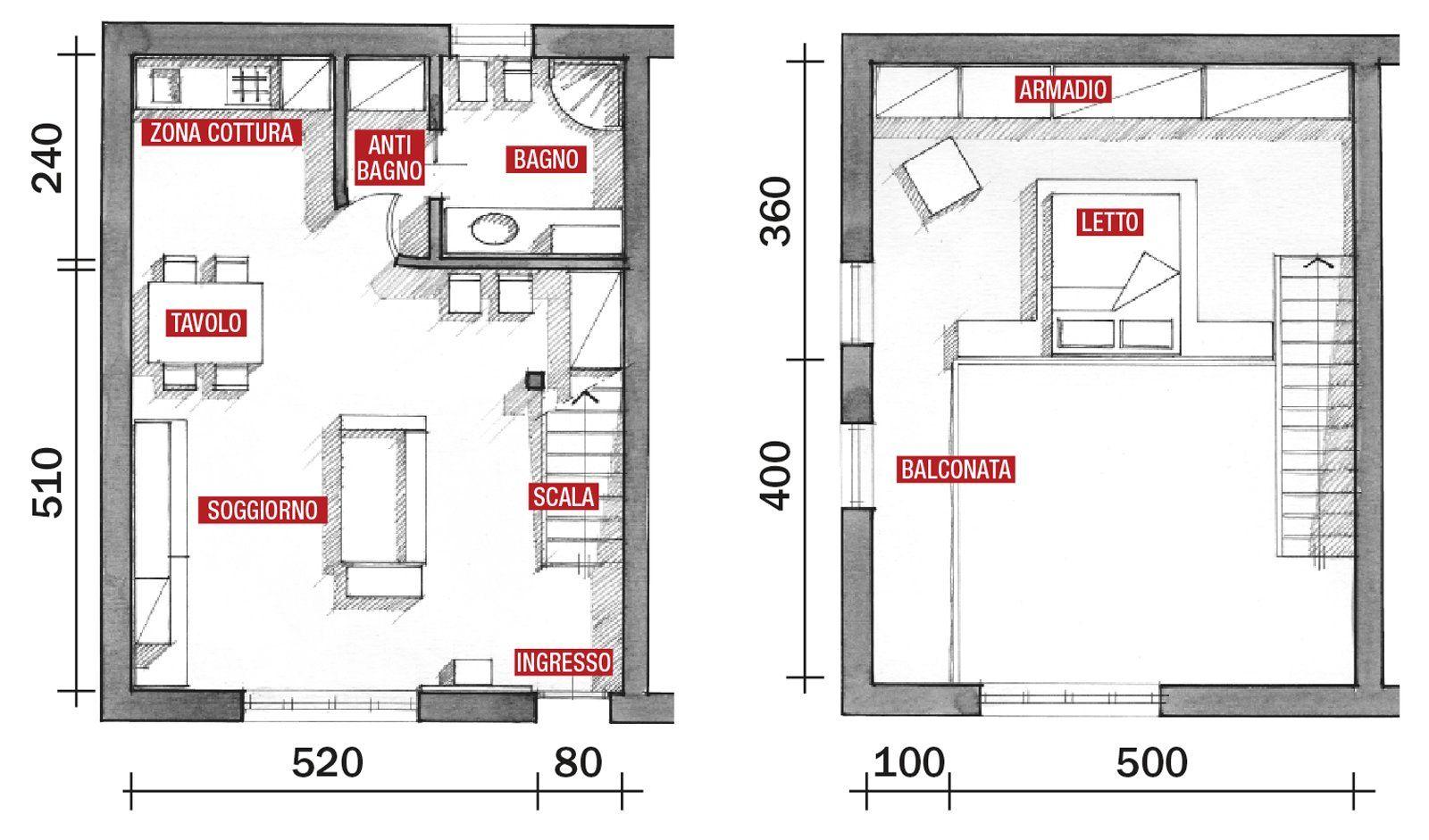 Una Casa A Doppia Altezza Con Soppalco Di 70 Mq Cose Di Casa Planimetria Casa Case Planimetrie Di Case