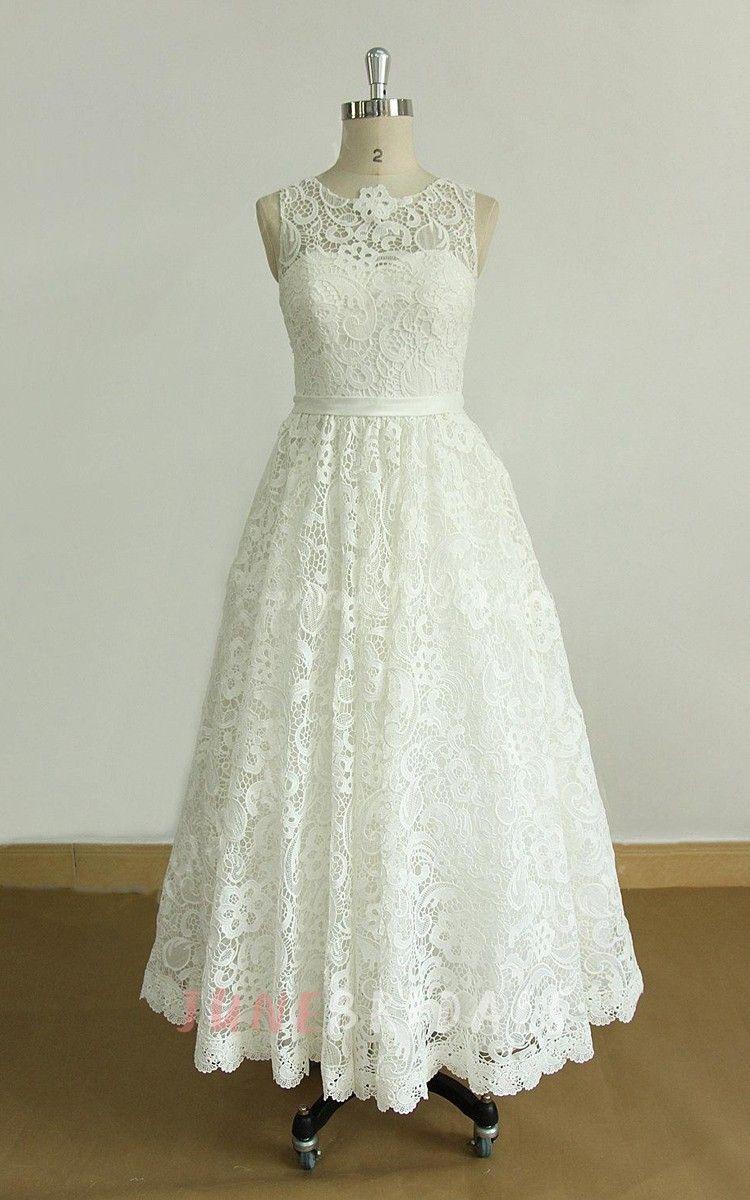 Aline tealength lace organza weddig dress wedding dress on