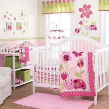Ladybugs and Flowers with Pink Polka Dots Girls 3 Pc Nursery Crib Bedding Set
