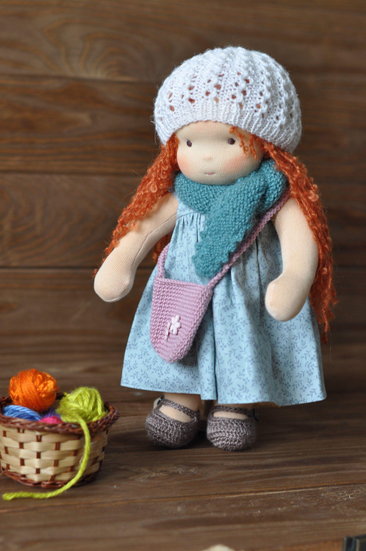 "Textile Waldorf baby doll for kids Amanda 12,6"" (32 cm"