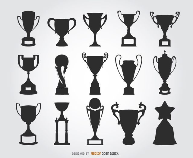 This Set Has 15 Silhouettes Of Trophies With Different Shapes Some Of These Have The Classical Cup Design Others Cool Symbols Silhouette Vinyl Trophy Design