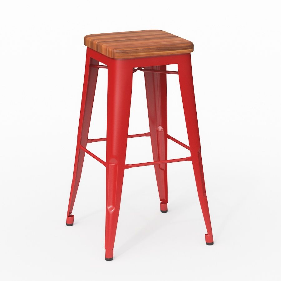 Bureau Tolix 3dmodel Tolix Stool Wood Seat 3d Models For Architecture