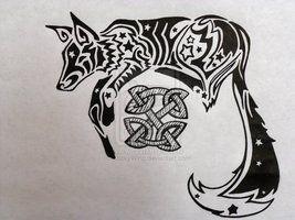 Tribal Celtic Fox Tattoo