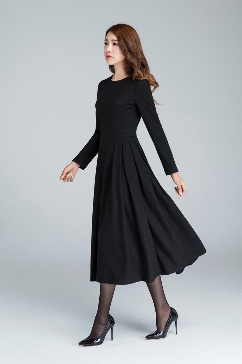 Long black dress wool dress winter dress long women  Etsy in 4