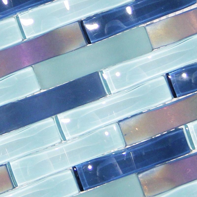 Ripple Stream Blue Wavy Mosaic Glass Tile Mosaic Glass Glass