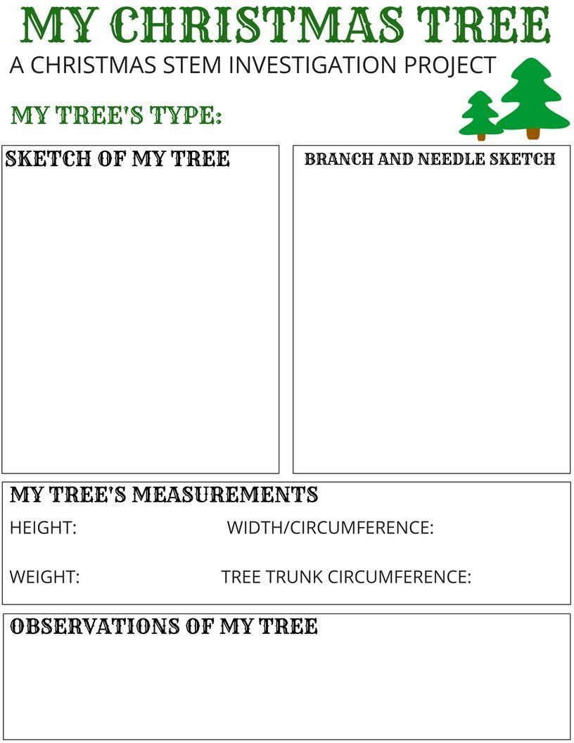 My Christmas Tree STEM Activity {FREE Printable}   Stem activities [ 1056 x 816 Pixel ]