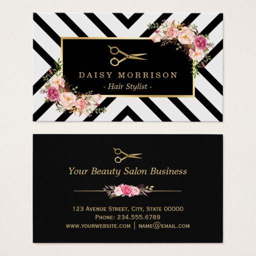 Gold Scissors Floral Hair Stylist Beauty Salon Business Card Zazzle Com Salon Business Cards Beauty Salon Business Cards Hairstylist Business Cards