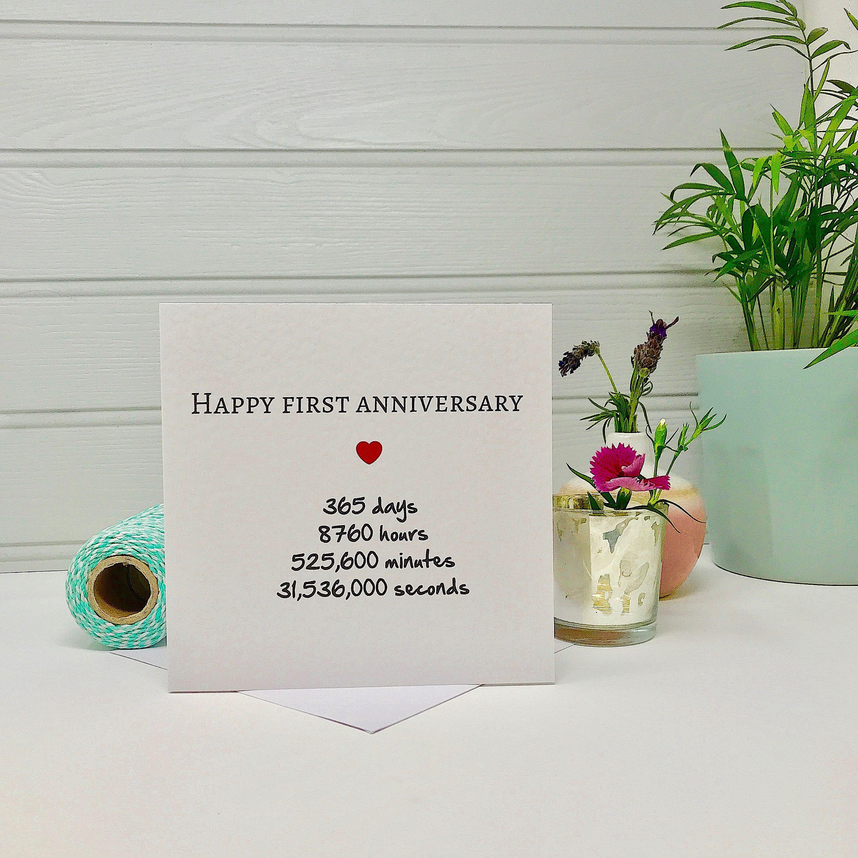 First Anniversary Card First Wedding Anniversary Card