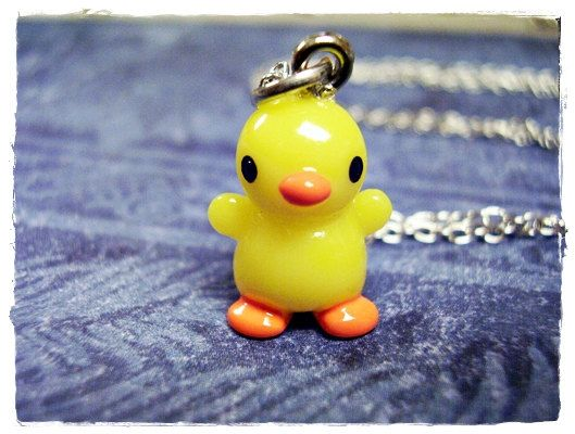 Tiny Yellow Chick Charm Necklace in Resin by EvelynMaeCreations, $12.00