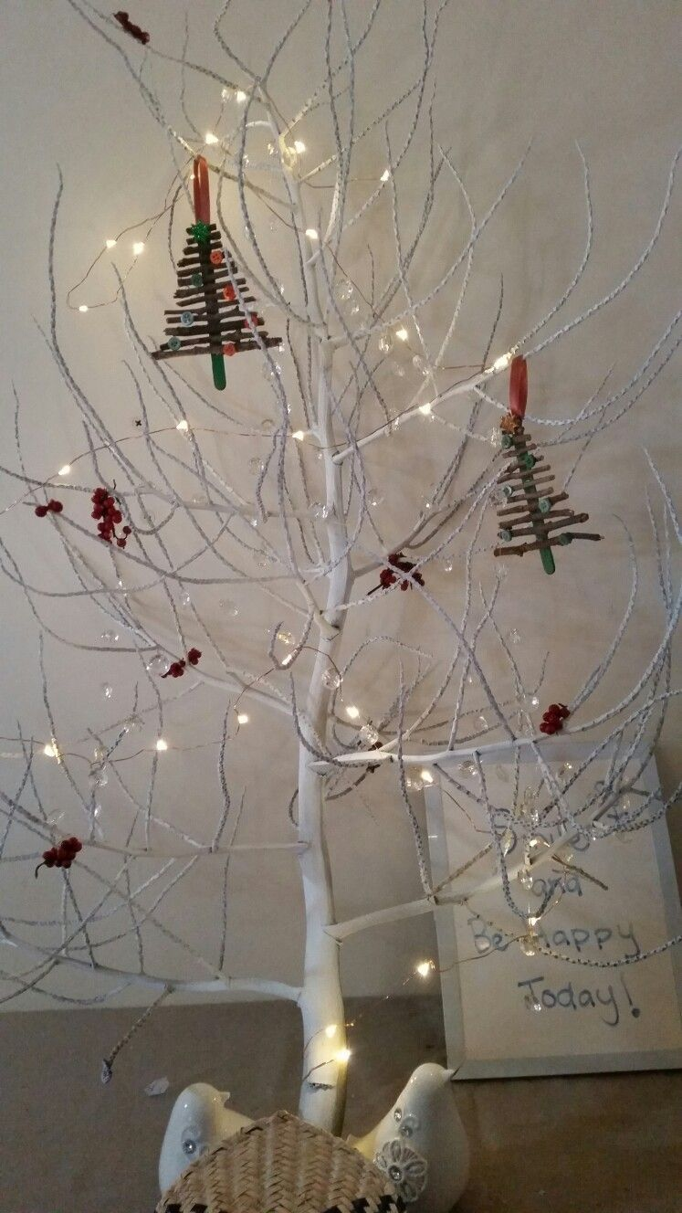 Diy Nature Christmas Tree Palm Tree Branch Pods Painted White With Diy Twig Decorations Christmas Decorations To Make Christmas Bulbs Christmas Decorations