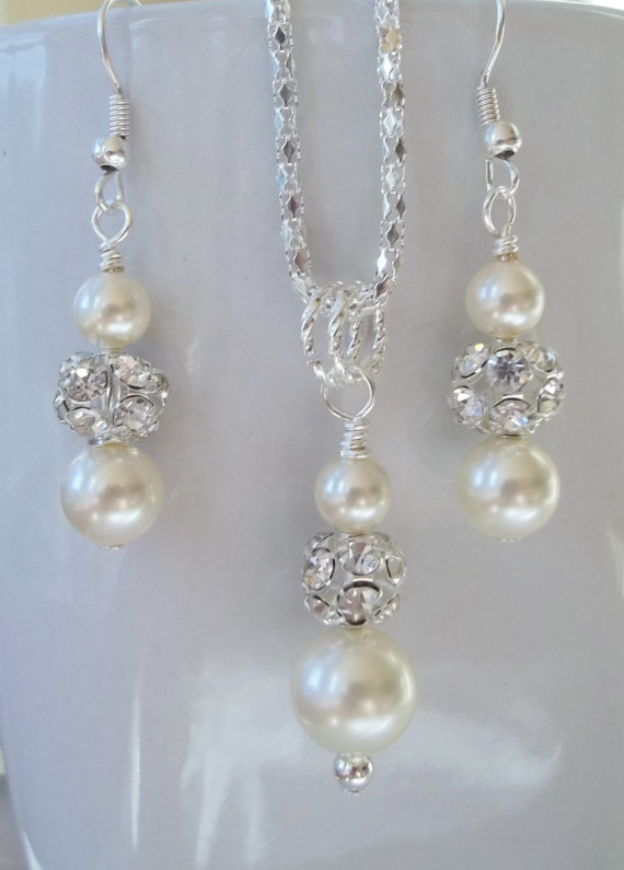 Ivory Bridesmaid Jewelry Set Cream Pearl Necklace Earrings Bridal Swarovski