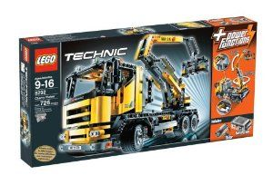 """LEGO Cherry Picker by LEGO. $256.44. Contains 726 pieces. Use the motorized Power Functions of the cherry picker truck to move the bucket and boom up and down. Includes motor and battery box and requires 6 AA (1.5v) batteries, not included. Measures over 121/2"""" (31cm) long and boom reaches over 161/2"""" (41cm) tall. Turn the gear on top to steer the front tires. Flip the switch to make it rotate 360 degrees around. Realistic LEGO® TECHNIC bucket truck includes instructions..."""