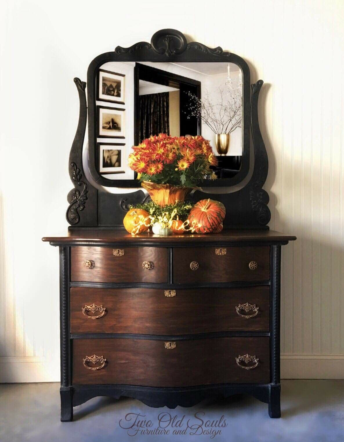 Black And Brown Create The Perfect Pair On This Low Chest With Matching Mirror Java Drawers Furniture Makeover Diy Furniture Makeover Cheap Furniture Makeover