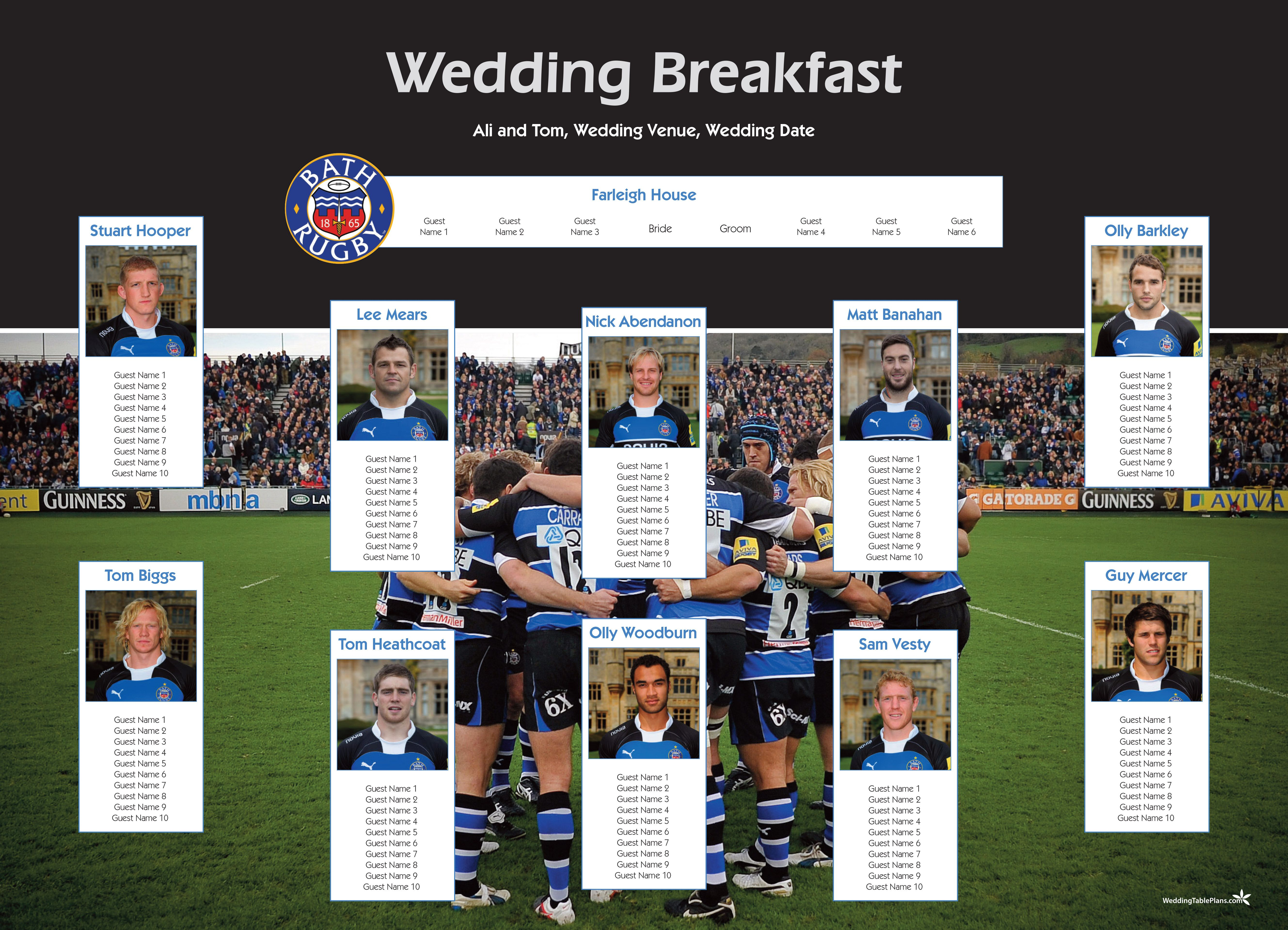 Sp0037 Bath Rugby Rugby Wedding Wedding Table Plan Wedding Table Stationery