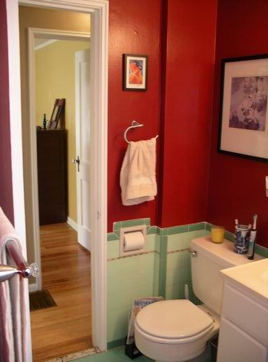 Red Bathroom Where The Mint Is I Would Want Gold Color Palette