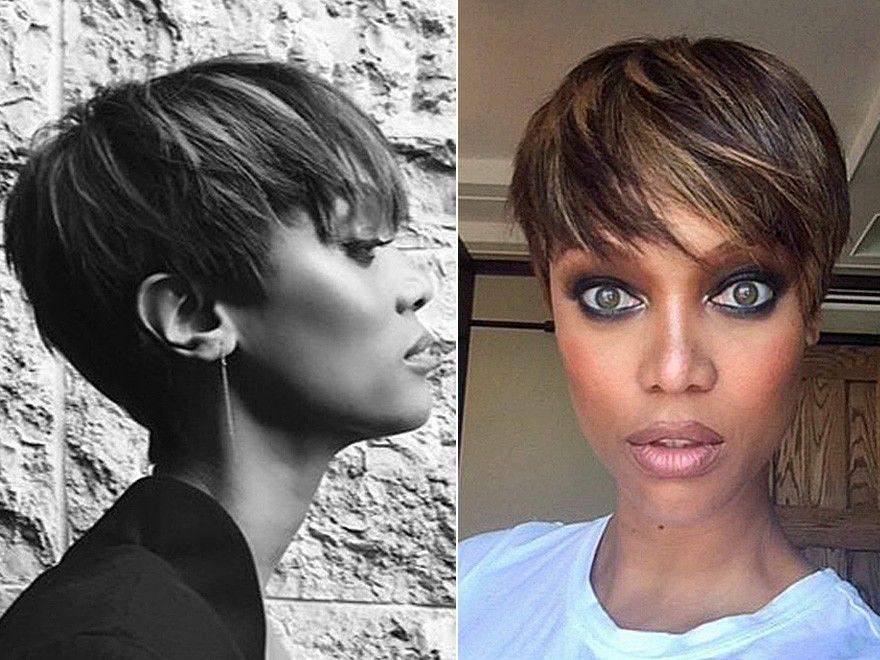 Tyra Banks Stars Mit Kurzen Haaren 2015 Haarschnitt Ideen Haarschnitt Fur Dickes Haar Haar Styling