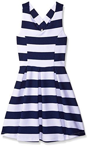 Zunie Girls Big Girls Sleeveless Textured Knit Skater Dress with Bow Back  NavyWhite 8     Details can be found by clicking on the image. c7a0f8d06