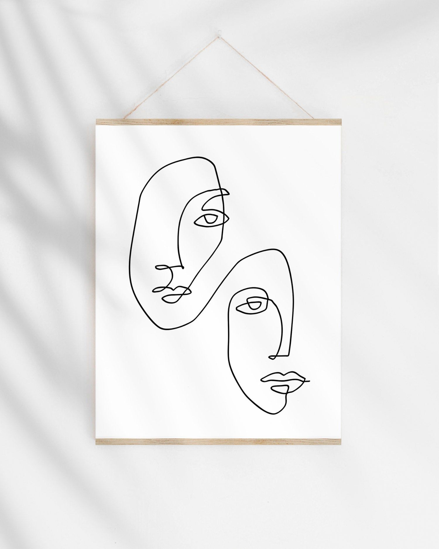 Continuous Line Art Print, One Line Drawing Faces Illustration, Modern Minimalist Sketch Abstract Wall Art Printable Original Artwork
