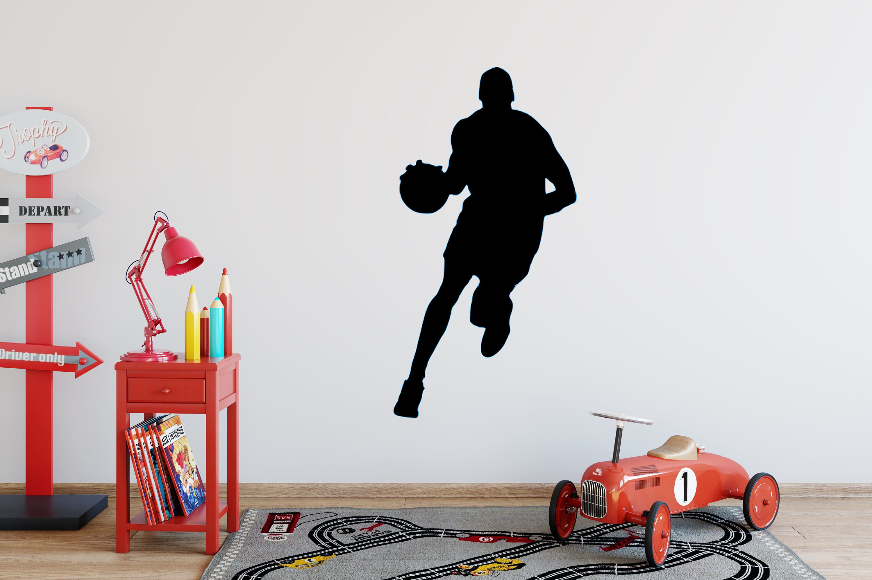 Basketball Player Running Silhouette Wall Decal, Vinyl Basketball Wall  Decals, Basket Player Wall Decal