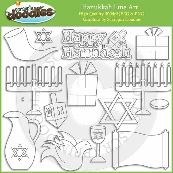 Hanukkah Line Art / Digital Stamps Download