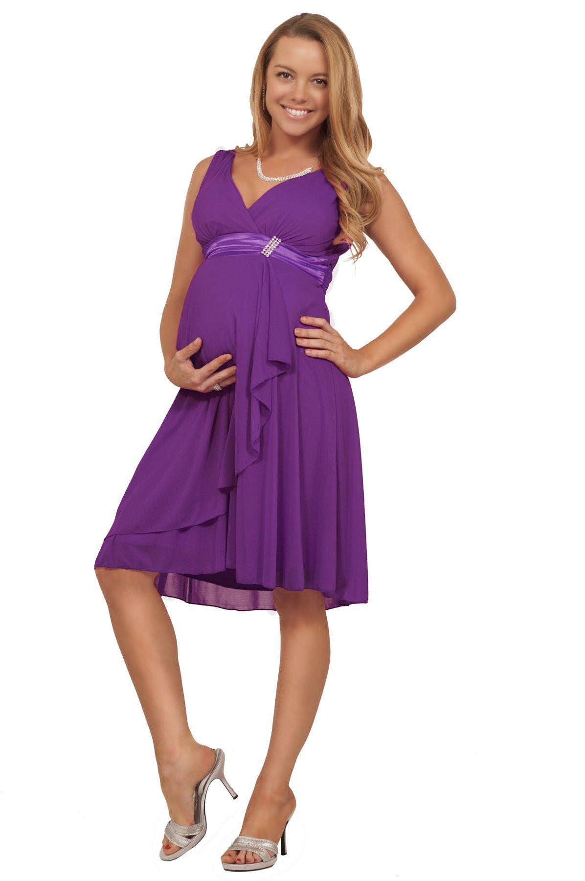 fb21512177f Maternity Bridesmaid Wedding Party Formal V-Neck Rhinestone Chiffon Dress  at Amazon Women s Clothing store