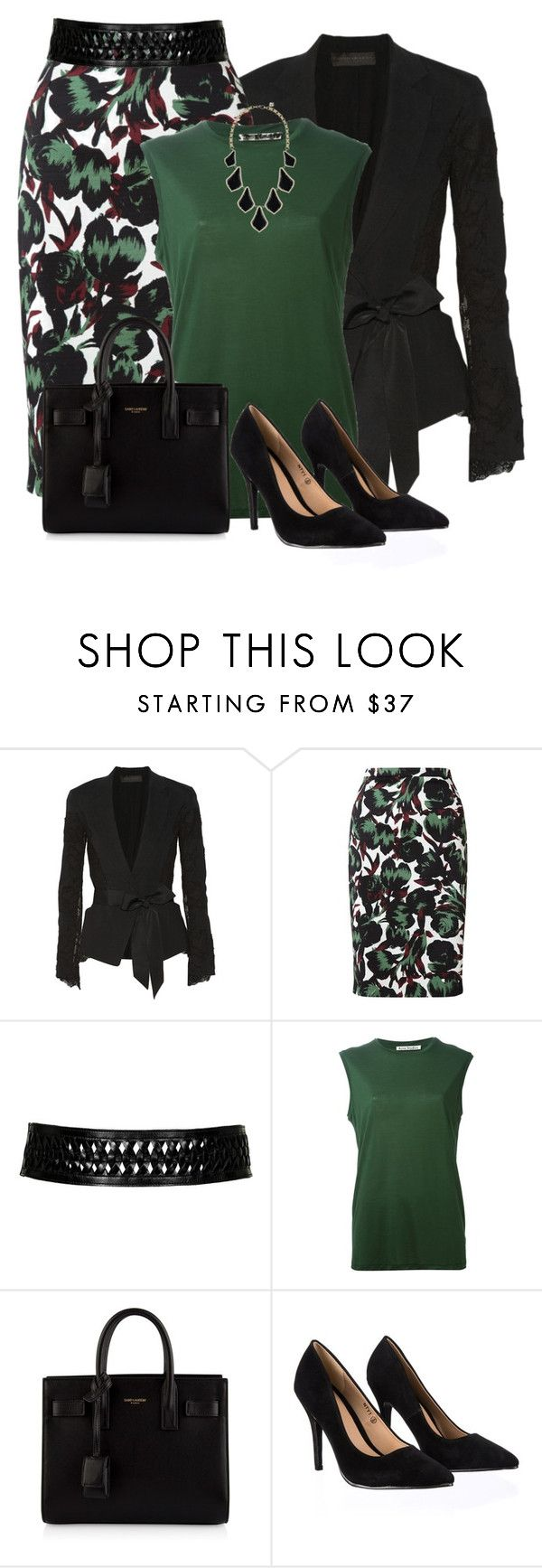 """Tulip Print Skirt"" by allysha-fa ❤ liked on Polyvore featuring Donna Karan, Jigsaw, Topshop, Acne Studios, Yves Saint Laurent, Lipsy and Kendra Scott"