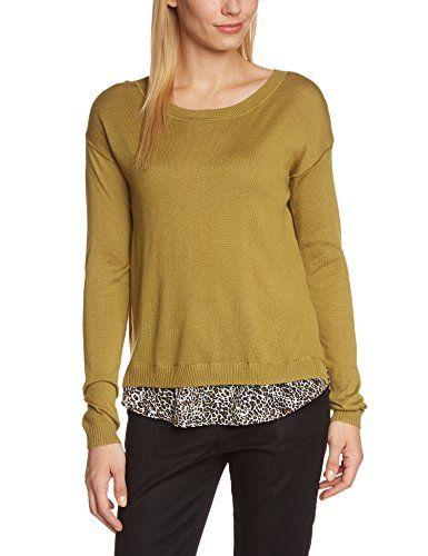 ESPRIT Damen Pullover mit Bluseneinsatz hinten, Animalprint, Gr. 38 (Herstellergröße: M), Grün (HERB GREEN 980)   Your #1 Source for Beauty Products