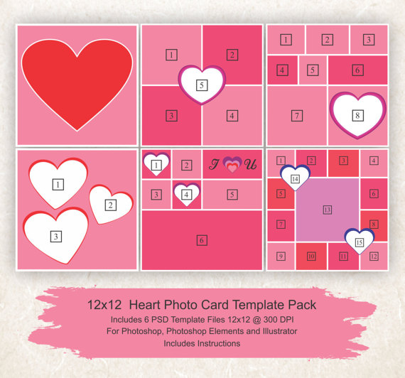 12x12 Photo Collage Template 6 Pack Hearts Card Template Etsy Photo Collage Template Collage Template Photo Card Template