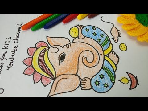 Youtube Beautiful Very Easy Ganpati Drawing With Coloring Youtube