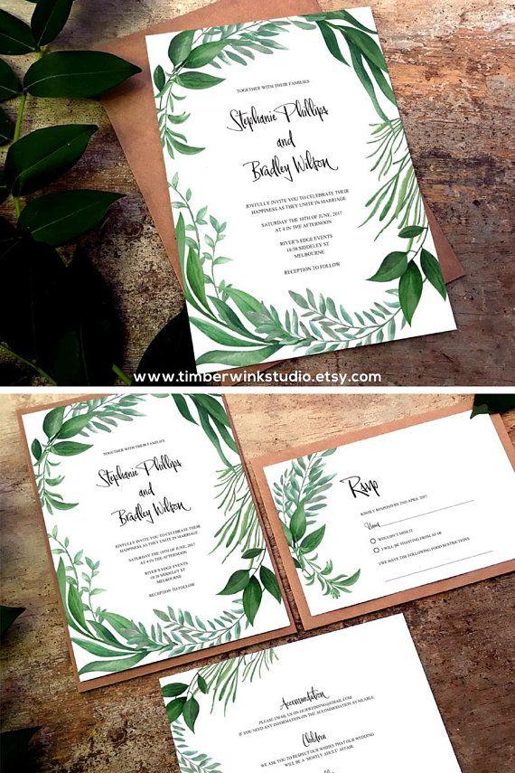 Printable Greenery Invitations Wedding Instant Greenery Botanical - invitation template nature