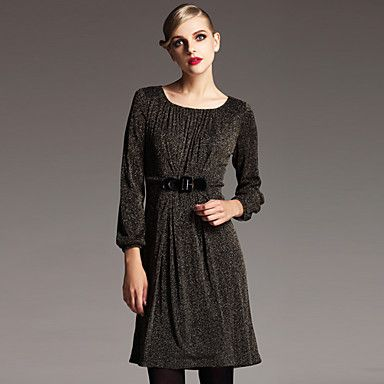 Round Collar Fitted Mesh Dress