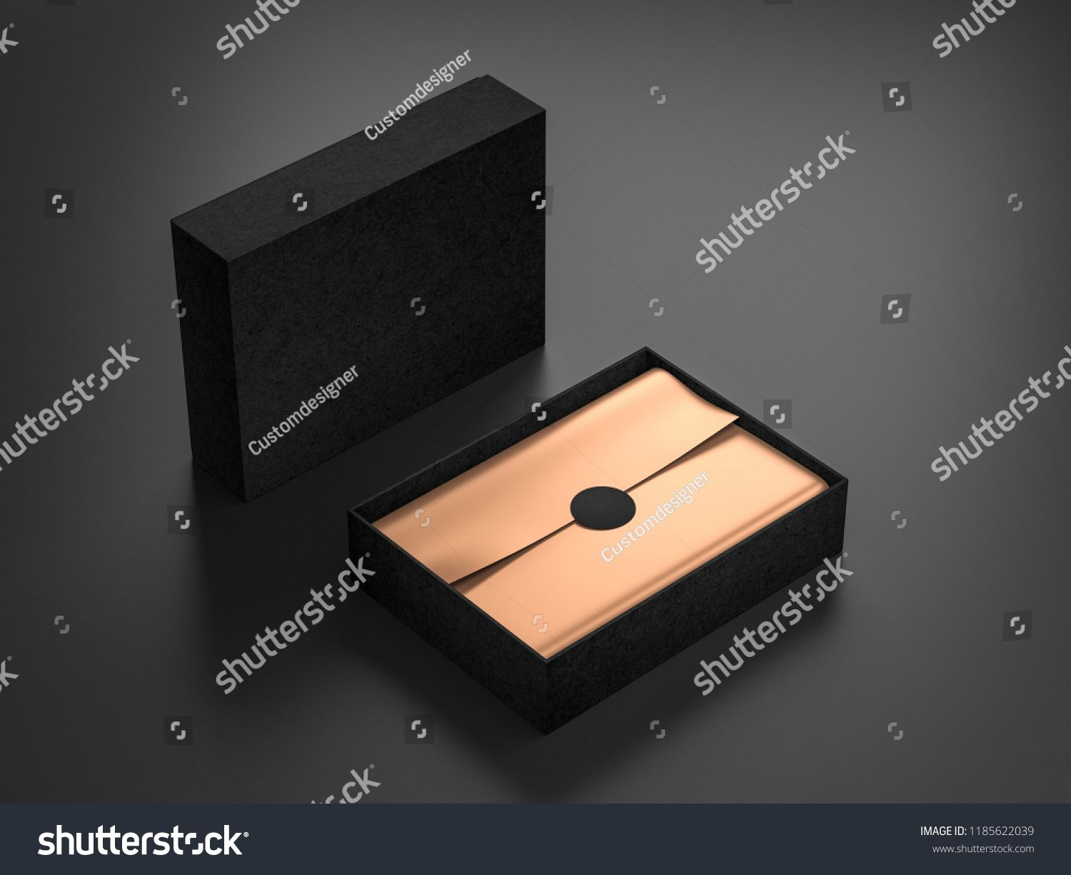 Download Opened Black Box Mockup With Golden Wrapping Paper And Label 3d Rendering Box Mockup Opened Black Box Mockup Black Box Box