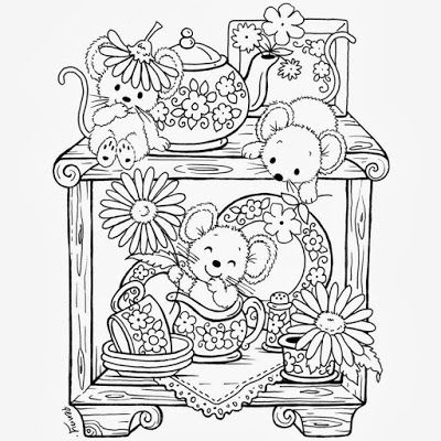 kitchen mice coloring page
