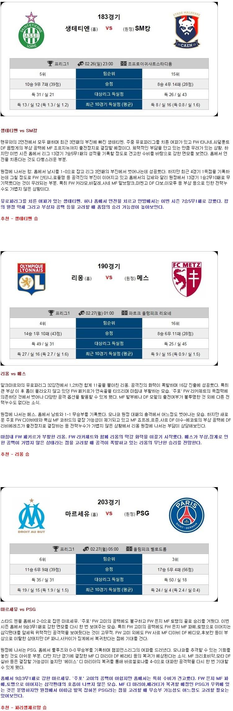 [축구]★토정비결★26일~27일 <리그앙>