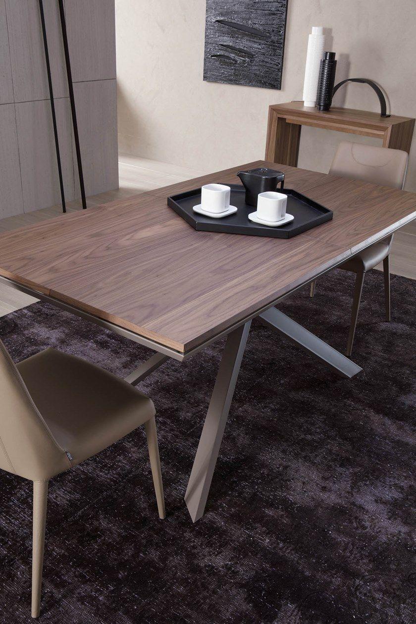 Table Extensible Rectangulaire En Bois 4X4 By Ozzio Italia