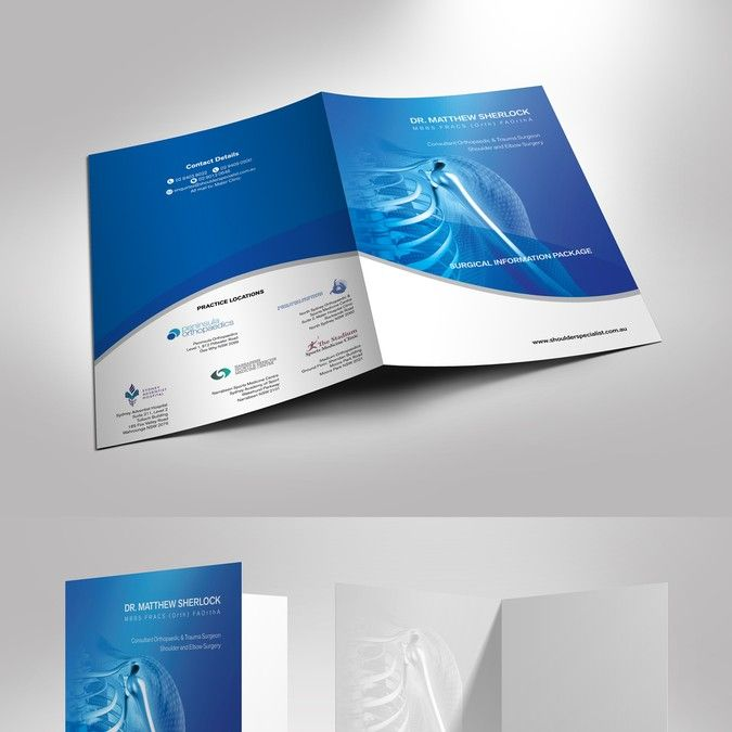 Create a professional A4 folder design for a surgical information package for a shoulder surgeon by Zeek_zk