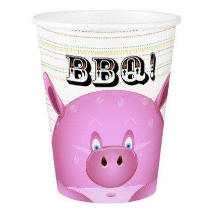 Whimsical Cartoon Pink Pig Bbq Summer Grill Party Paper Cup