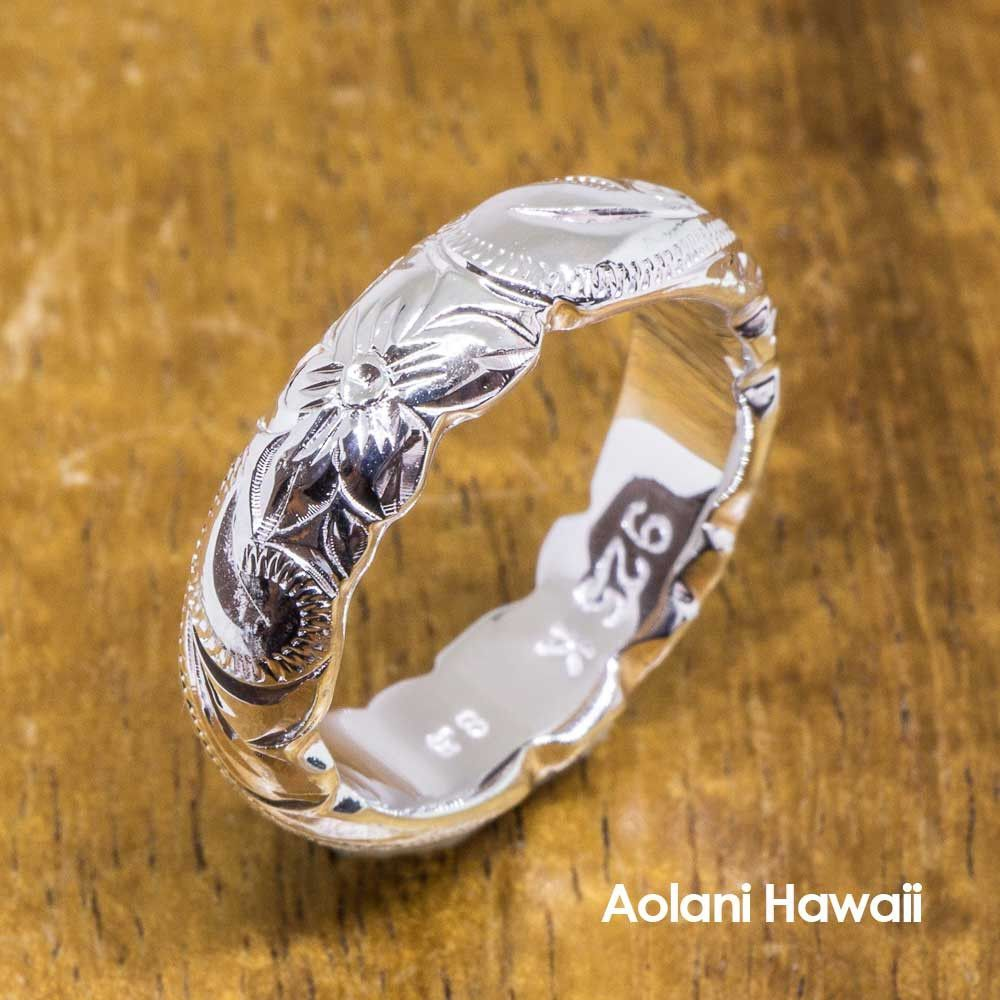 Heavy barrel hawaiian jewelry ring hand engraved sterling silver