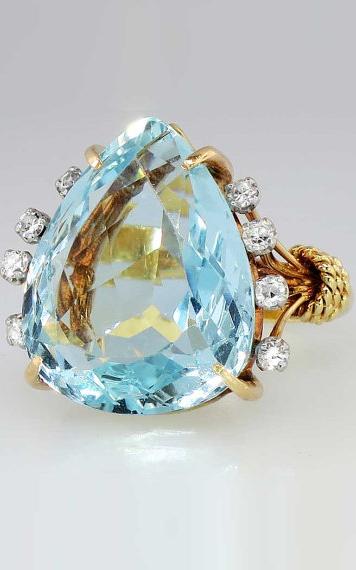 Glistening Enormous 24.4ct Aquamarine & Diamond Ring 18k