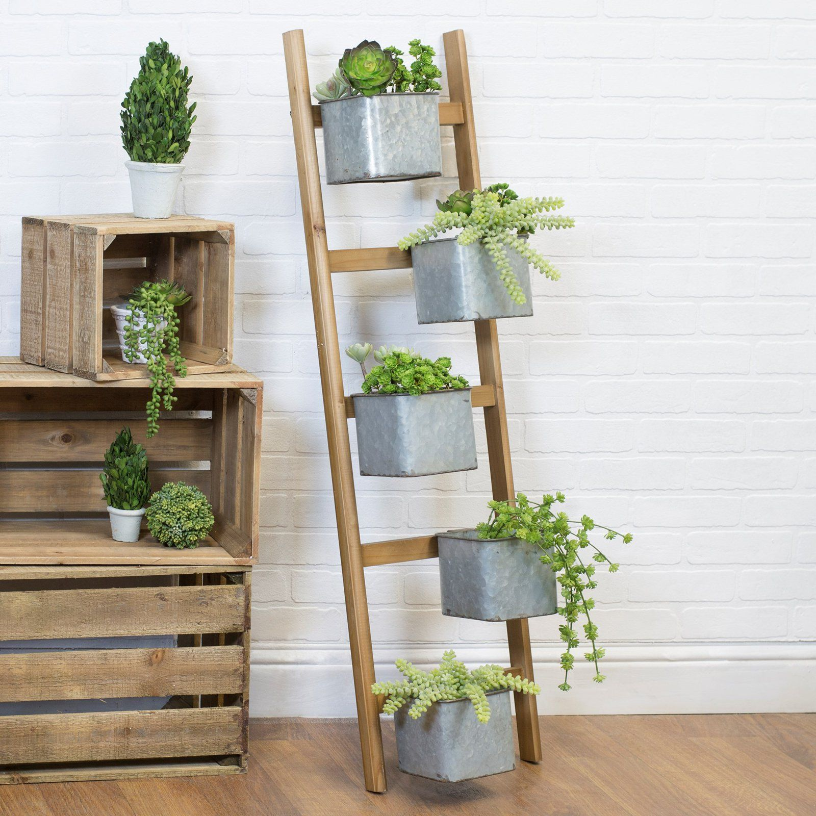 American Mercantile Wood Ladder Planter With Images 400 x 300