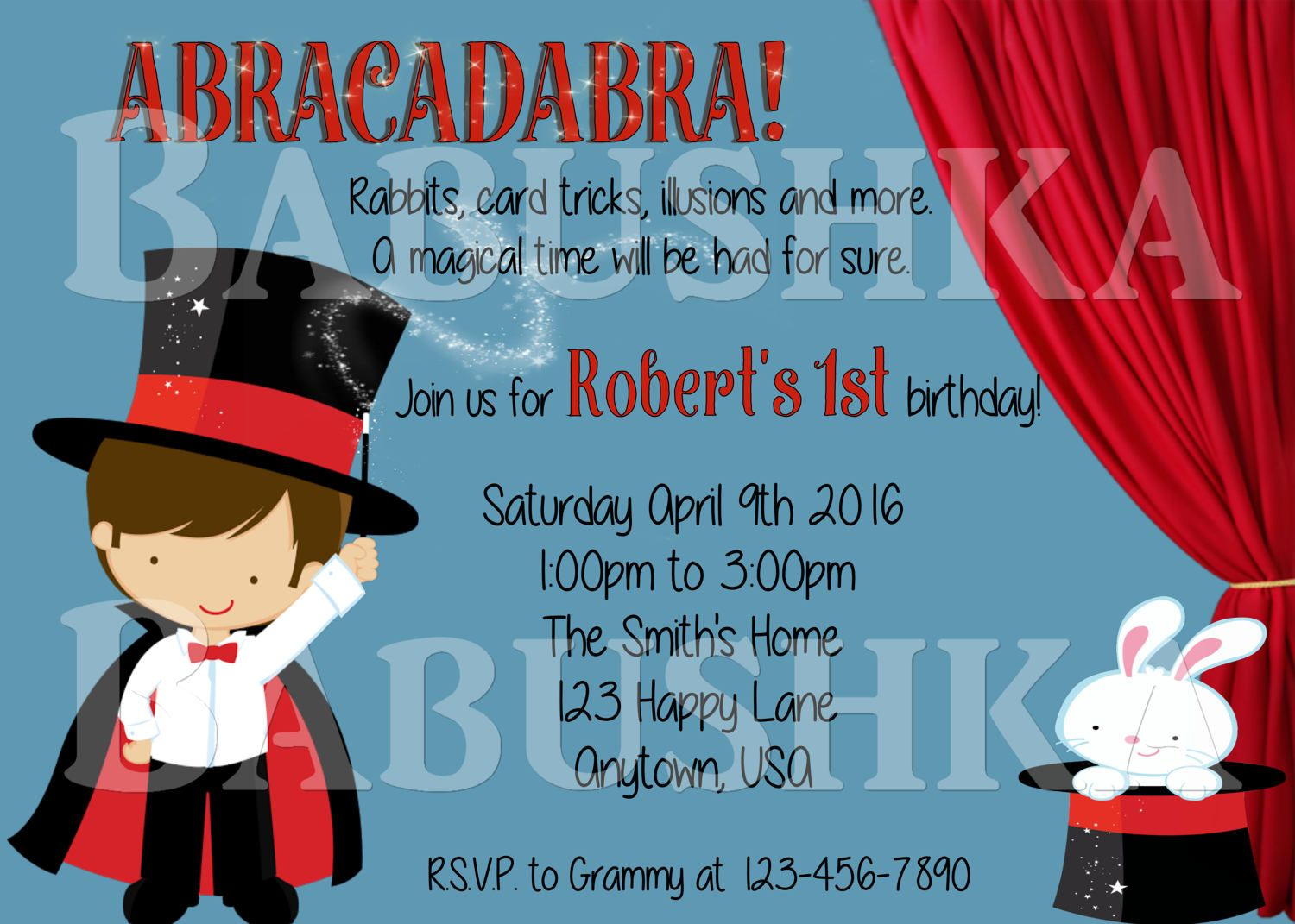Magic Show Themed Childs Birthday Party Invitation Magician