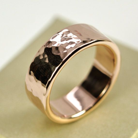 14k Rose Gold Mens Wedding Band Hammered Gold Ring 8mm Wide Sizes 10 13 This Listing Mens Gold Wedding Band Mens Wedding Rings Rose Gold Mens Wedding Band