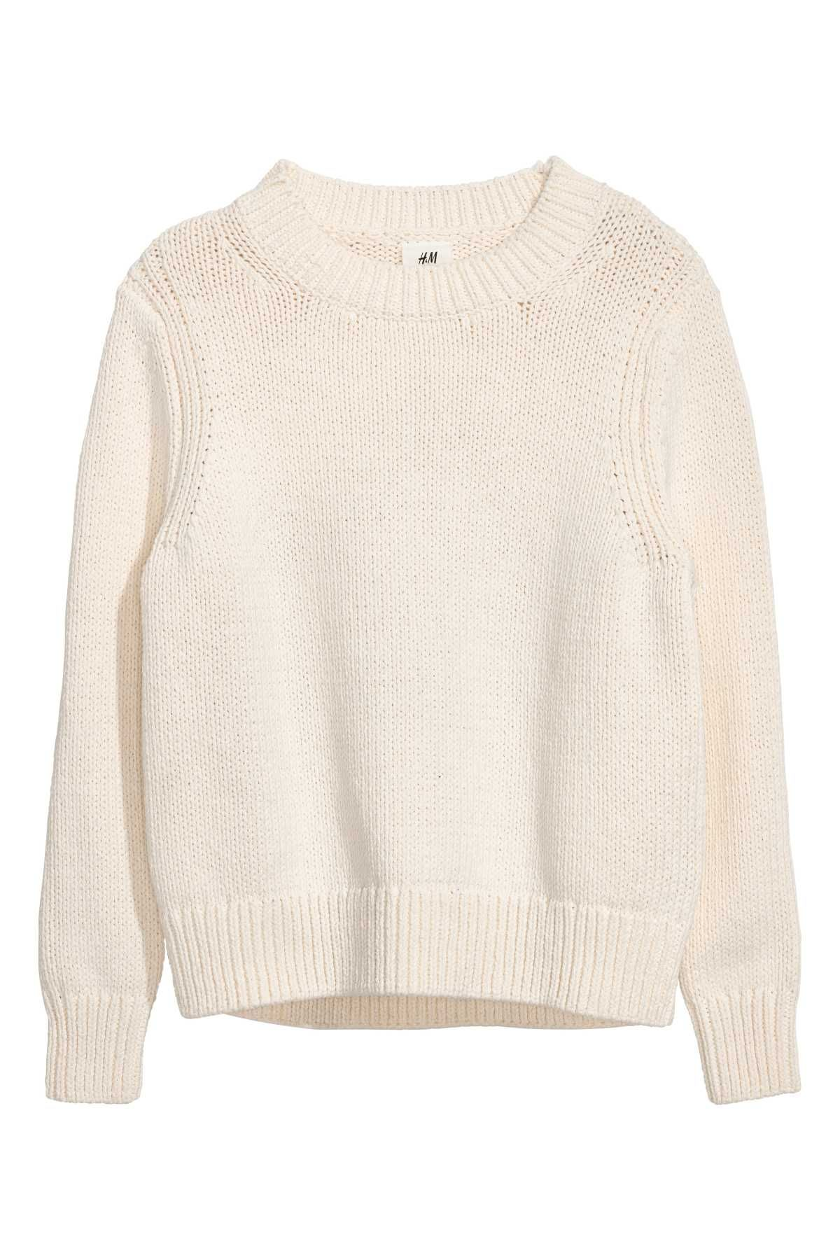817b6ee74f1 Natural white. STUDIO COLLECTION. Chunky-knit sweater in thick ...